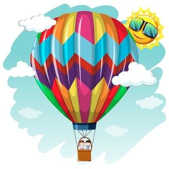 Hete lucht ballon achtergrond ontwerp