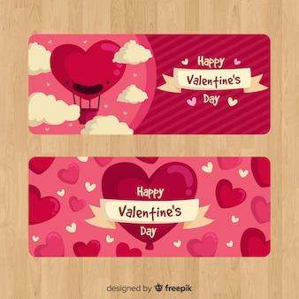 Hete lucht ballon valentijn banner
