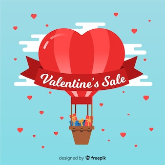 Hete lucht ballon valentijn verkoop achtergrond
