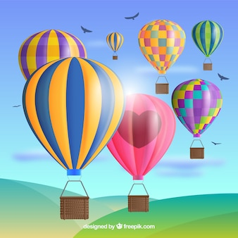 Hete lucht ballonnen achtergrond in realistische stijl