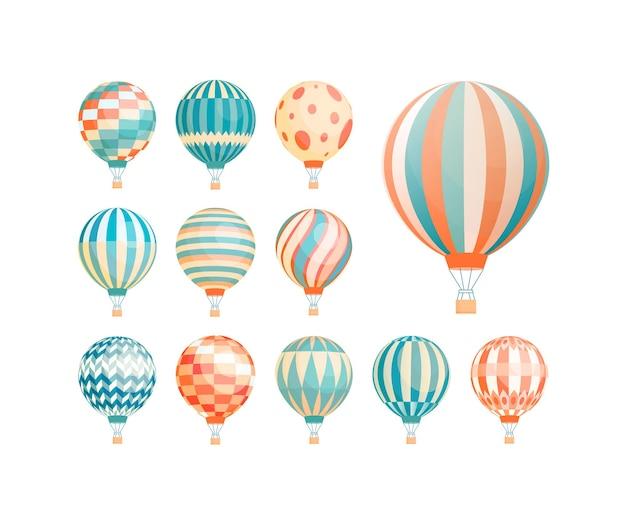 Hete lucht ballonnen platte vector illustraties set. kleurrijke vintage luchtvaartuigen voor vluchten geïsoleerd op een witte achtergrond. sierlijke luchtballons, luchtschepen met manden design elementen collectie.