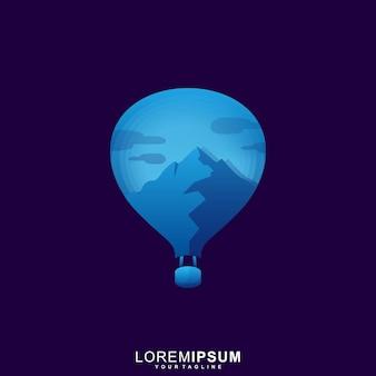 Hete lucht balloon mountain logo sjabloon