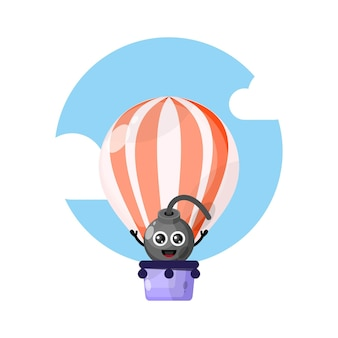 Hete luchtballon bom schattige karakter mascotte