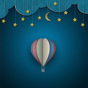 Hete luchtballon en maan met sterren