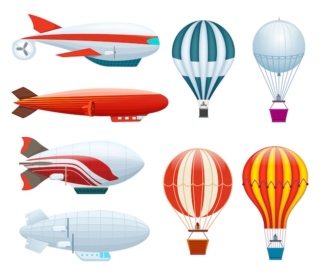 Hete luchtballon geïsoleerde set
