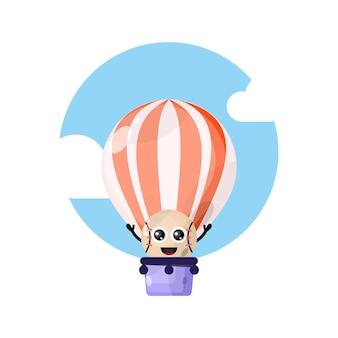 Hete luchtballon honkbal schattig karakter mascotte