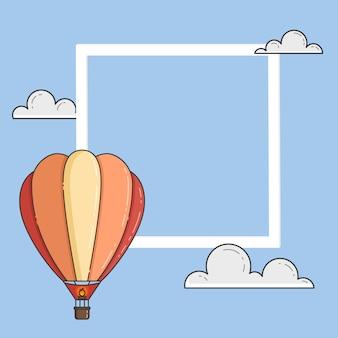 Hete luchtballon in blauwe hemel met wolken, frame, copyspace. platte lijn kunst vectorillustratie. abstracte skyline. concept voor reisbureau, motivatie, bedrijfsontwikkeling, wenskaart, banner, flyer