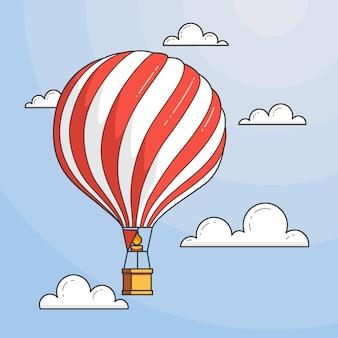 Hete luchtballon in blauwe hemel met wolken onder het overzees. platte lijn kunst vectorillustratie. abstracte horizon. concept voor reisbureau, motivatie, bedrijfsontwikkeling, wenskaart, banner, flyer.