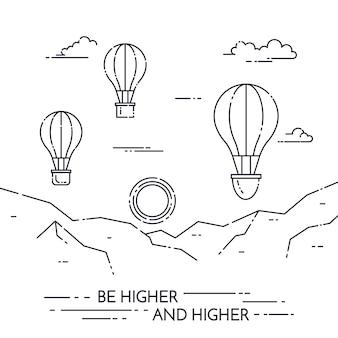 Hete luchtballon in hemel onder bergen die op witte achtergrond worden geïsoleerd