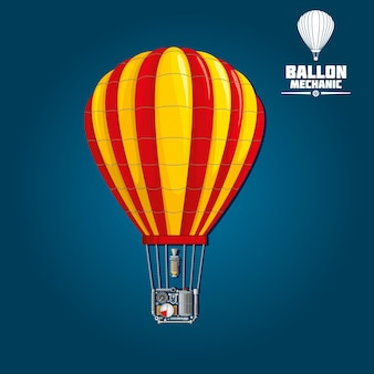 Hete luchtballon met gestripte envelop geïsoleerd op blauw. gedetailleerde mechanica van nylon of dacron omhulsel, parachuteopening en -brander, brandstoftank en het verwarmingsproces