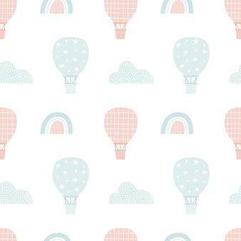 Hete luchtballon patroon. leuk naadloos ontwerp. stijlvol gedempt kleurenschema. afdrukken voor textiel, scrapbooking, digitaal papier, behang. vectorillustratie, met de hand getekend