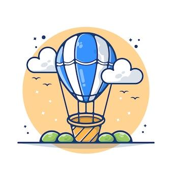 Hete luchtballon transport illustratie. hete luchtballon reizende concept. vervoer met wolken. platte cartoon stijl