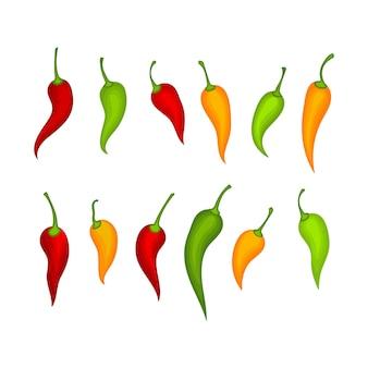 Hete natuurlijke kleurrijke chilis decorontwerpen illustratie