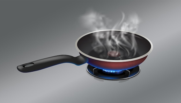 Hete pan brandt op een roestvrijstalen metalen achtergrond van een gasfornuis