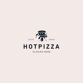 Hete pizza logo vectorillustratie