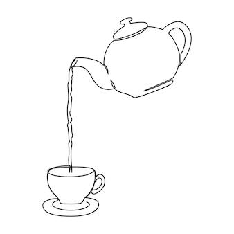 Hete thee gegoten uit theepot in beker lijn kunst vectorillustratie