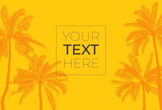 Hete tropische palmboom en exemplaarruimte. sjabloon met plaats voor tekst.