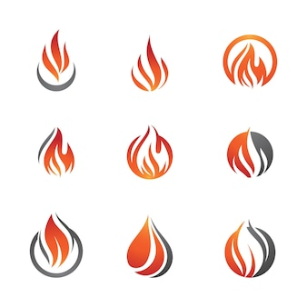 Hete vlam brand vector pictogram illustratie ontwerpsjabloon