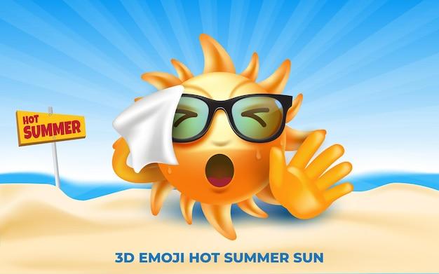 Hete zomer 3d emoji zon cartoon