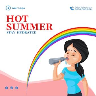 Hete zomer blijf gehydrateerd banner ontwerpsjabloon