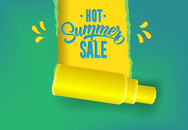 Hete zomer promotie promotie banner in gele, blauwe en groene kleuren.