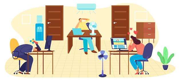 Hete zomerdag op kantoorwerk, illustratie op hoge temperatuur.