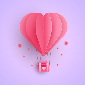 Heteluchtballon in papierstijl