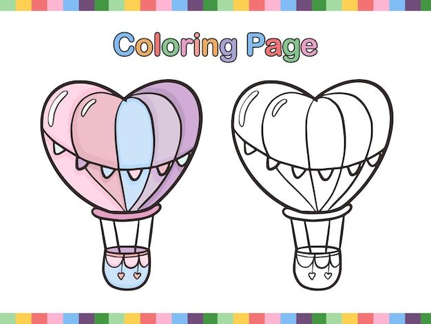 Heteluchtballon kleurboek pagina voor kinderen