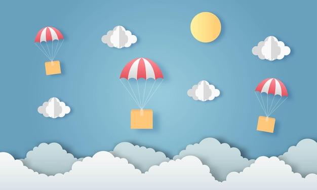 Heteluchtballon met leveringsdoos papieren kunst