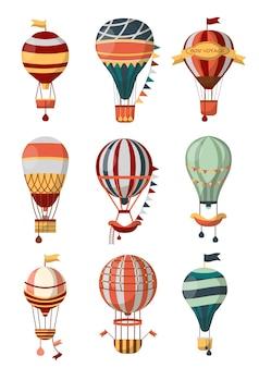 Heteluchtballon retro pictogrammen met patroon, gondel en vlaggen voor bon voyage of openluchtballonfestival.