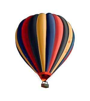 Heteluchtballon van veelkleurige verf splash van aquarel gekleurde tekening realistisch