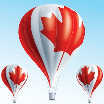 Heteluchtballonnen geschilderd als vlag van canada