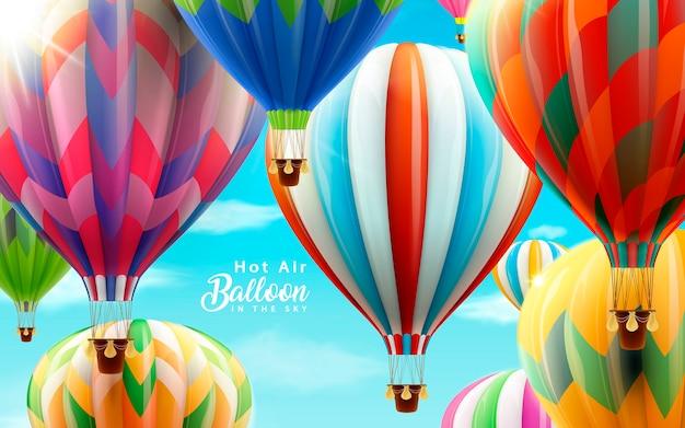 Heteluchtballonnen in de lucht, kleurrijke ballonnen voor gebruik in illustratie met helderblauwe lucht