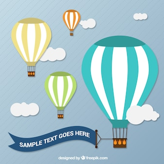 Heteluchtballonnen met een banner