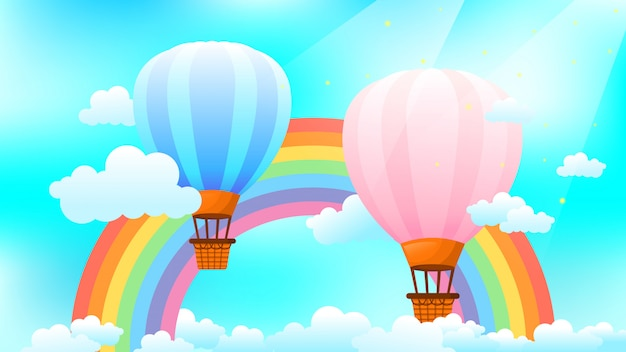 Heteluchtballonnen met regenboog, wolken aan de hemel