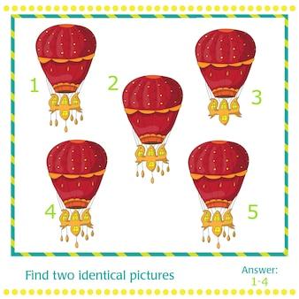 Heteluchtballonnen - spel voor kinderen - vector