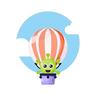 Heteluchtballonvirus schattig karakter mascotte