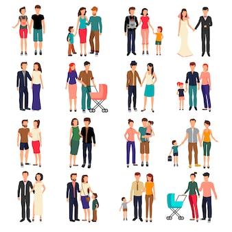 Heteroseksuele paren en families met kinderen vlak die reeks op witte vector wordt geïsoleerd als achtergrond illustr