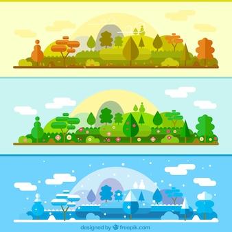 Hetzelfde landschap in verschillende seizoenen banners
