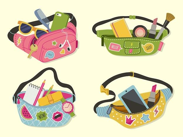 Heuptassen. grappige schattige stijlaccessoires gelukkige dame moderne tassen voor handige items en geld vectorillustraties. tas met ritssluiting in de taille, kledingzak en buidelriem