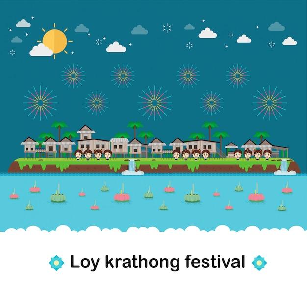 Heuvelhuizen met tropisch eiland. paradijs oceaanlandschap en loy krathong-festival.