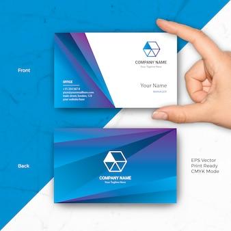 Hexa blue business card vector template elegant