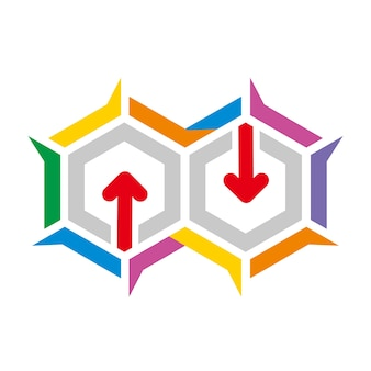 Hexa infinity arrows logo design