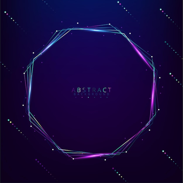 Hexagon gloeiende lichte banner met lege ruimte