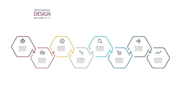 Hexagon inforgraphics op grafische kunst.