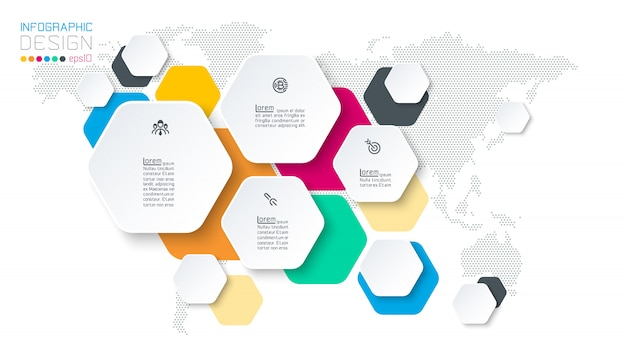 Hexagon inforgraphics op vector grafische kunst.