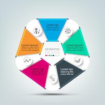 Hexagon-ontwerp toont werken en presenteert en communiceert via diagrammen die van toepassing zijn op een verscheidenheid aan infographic organisaties