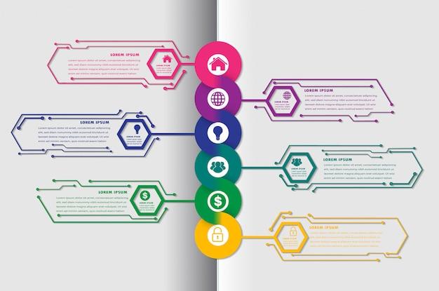 Hexagon tekstvak circuit sjabloon voor website, tijdlijn