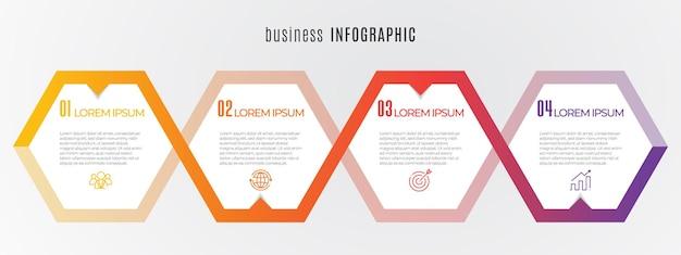 Hexagon tijdlijn infographic sjabloon 4 stappen