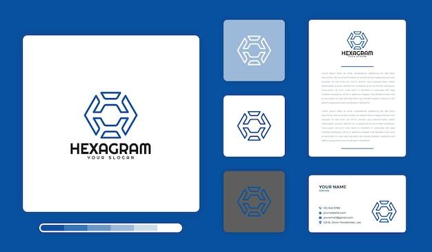 Hexagram logo ontwerpsjabloon Premium Vector